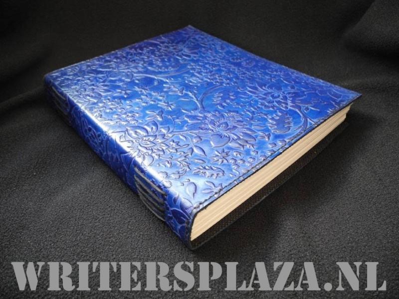 Paul-Francis leren Kamperfoelie Dagboek 23x19 cm Blauw