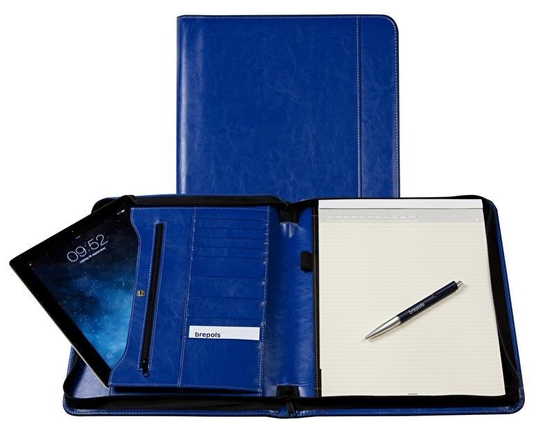 Brepols Palermo Luxe Leren schrijfmap A4 Koningsblauw