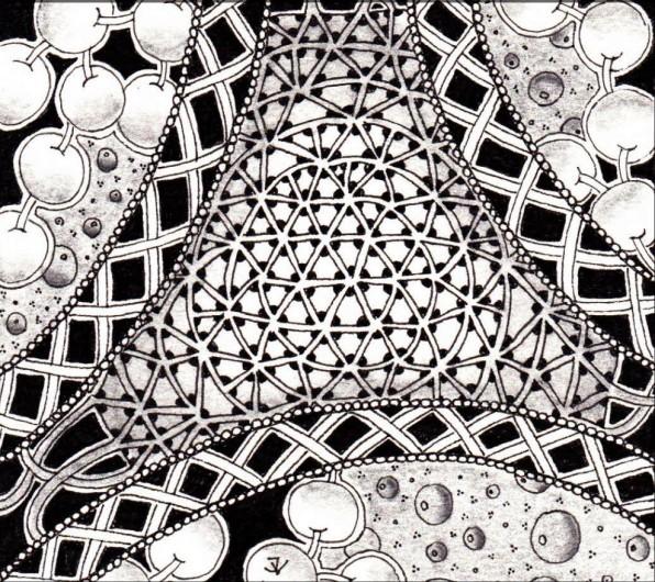 Een zentangle tekening in zwart wit