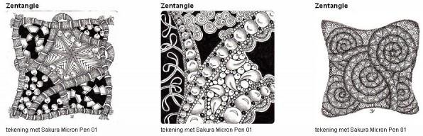 Zentangle tekeningen gemaakt met Pigma Micron Pen