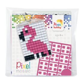 pixelhobby  flamingo sleutelhanger medaillon