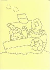 Voorbeeld zandkaart sinterklaas sint en piet op de boot