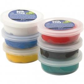 Silk Clay 6x 40 gram basiskleuren wit blauw geel rood zwart groen