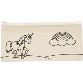Unicorn etui   ( excl textielstiften om zelf nog te kleuren)