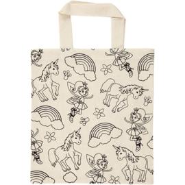 Unicorn boodschappen tas ( excl. textielstiften om zelf te kleuren)