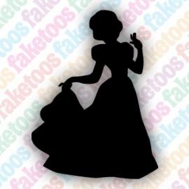 Prinses met jurk glittertattoo sjabloon