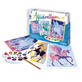 eenhoorn unicorn aquarelset  met 3  schilderijtjes hg