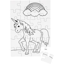 Unicorn puzzel 16 stukjes om zelf in te kleuren