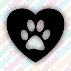 Heart Paw Patrol glittertattoosjabloon