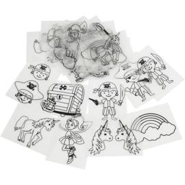 Krimpvellen 8 x 4-5 stuks unicorn elfje regenboog piraten