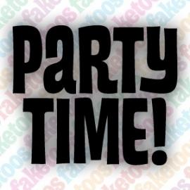 Partytime tekst glittertattoo sjabloon