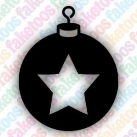 Kerstbal met ster glittertattoo sjabloon