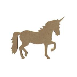 Eenhoorn unicorn van MDF 15 cm lopend hg