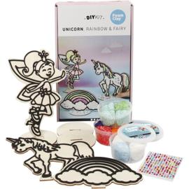 Unicorn themaset met elfje en regenboog van  hout met div. versiermateriaal
