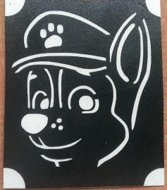 Paw Patrol Chase gezicht glittertattoosjabloon