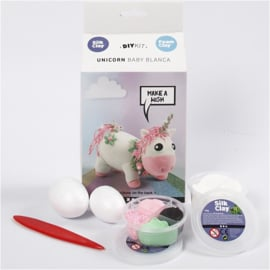 Unicorn Funny Friend roze  DIY met Foam Clay en Silk Clay