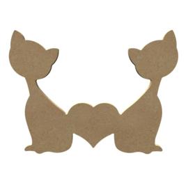MDF katten met hartje  uitverkocht ! 15x 21 cm