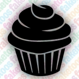 Cupcake glittertattoo sjabloon