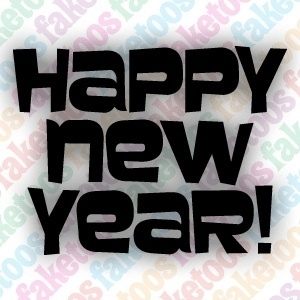 Happy new year tekst glittertattoo sjabloon
