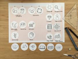Ontwerpfase Symbolen voor dagindeling