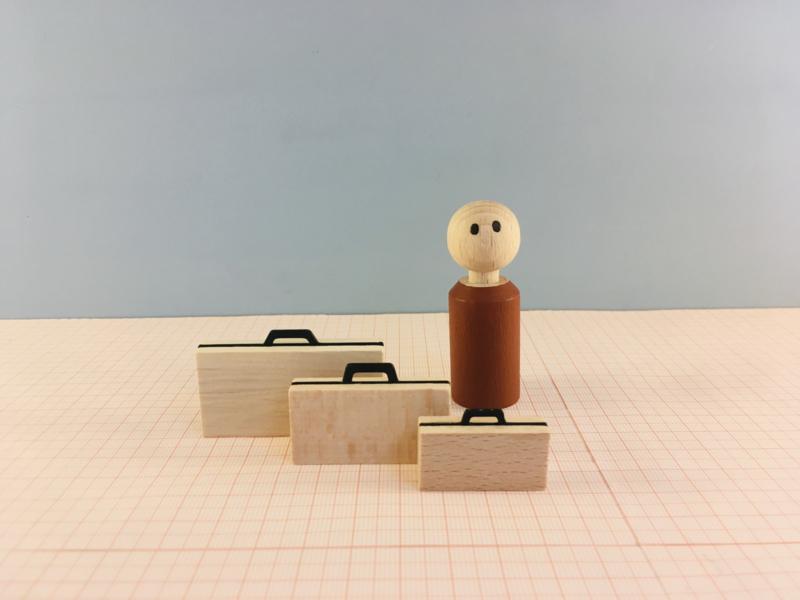 Set van 3 Houten koffertjes (S/M&L)