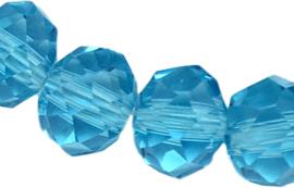 02716 Glaskraal imitatie swarovski faceted Abacus streng (±20cm) Turquoise 1 streng