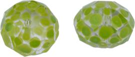 00470 Glaskraal Rondel handgeschilderd Transparant licht groen 14mmx18mm; gat 1mm 1 stuks