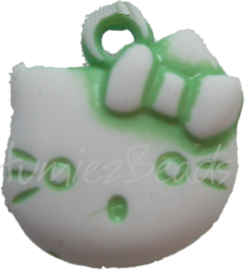 00006 Bedel Hello Kitty acryl Groen/wit 20mmx18mm