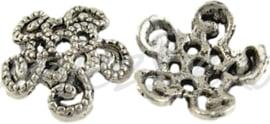 02592 Kralenkap sierlijk Antiek zilver (Nickel vrij) 12mmx3,5mm; gat 1mm 11 stuks