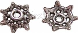 01568 Kralenkap ster Antiek zilver (Nikkelvrij) 2mmx9mm 15 stuks