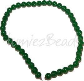 03463 Glaskraal streng (±40cm) imitatie jade Donker groen 10mm 1 streng