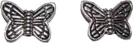 02610 Spacer Vlinder Antiek zilver (Nikkelvrij) 11x14x3mm; gat 1mm 7 stuks