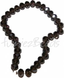 03593 Imitatie swarovski streng (±25cm) Donker bruin 12mmx8mm 1 streng