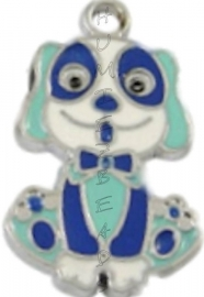 01206 Bedel hond enamel Metaalkleurig / mix color 27mmx16mm