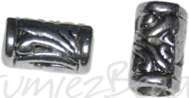 00531 Metalen kraal bewerkt groot gat Antiek zilver 11,5mmx7mm; gat 4,2mm 5 stuks