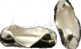 03706 Metaal klemmetje voor 1,5mm bolketting Zilverkleurig 7mmx2,5mm; 12 stuks