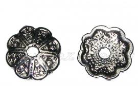 02033 Kralenkap bloem Zwart (Nickel vrij) 13mmx2mm; gat 2mm
