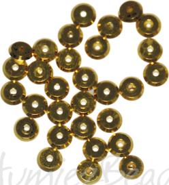 04136 Spacer Rond Goudkleurig (Nikkelvrij) 5mmx1mm; gat 1mm ±40 stuks