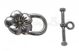 01962 Kapittelslot bloempje Antiek zilver (Nikkelvrij) 22mmx13mm 4 stuks