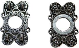 01545 Verdeler bloem 2-gaats Antiek zilver 26mmx17mm 3 stuks