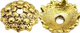 03765 Kralenkap Bloemenweelde Antiek goud (Nikkelvrij) 10,5mmx1mm; gat 2mm 8 stuks