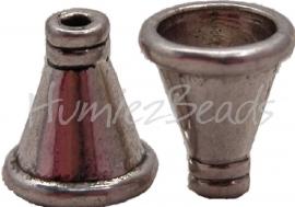 02086 Kralenkap toeter Antiek zilver (Nickel vrij) 11 stuks