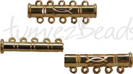 00113 Magneetschuifslot 5-rings Goudkleurig 30mmx10mm