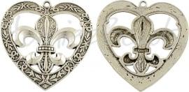 02649 Hanger Hart franse lelie Antiek zilver (Nikkelvrij) 57mmx56mm 1 stuks