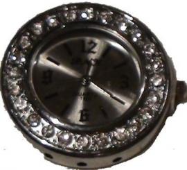 00167 Horloge bling Metaalkleurig/Chrystal  1 stuks