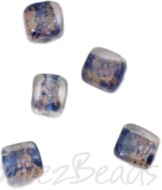 04216 Handgemaakte glaskraal Vierkant Transparant/blauw 10mmx10mm; gat 1mm 5 stuks