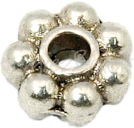 00704 Spacer daisy Antiek zilver (Nikkel vrij) 4mm ±35 stuks