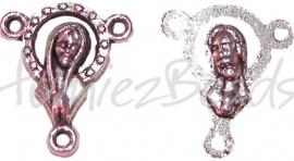 02115 Tussenstuk religieus Antiek zilver (Nickel vrij) 18mmx15mm