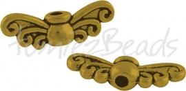 01832 Spacer vleugel Antiek goud (Nikkelvrij) 5mmx14mmx3mm; gat 1mm 11 stuks