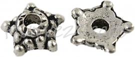 00857 Kralenkap ster mini Antiek zilver (Nikkelvrij) 5,5mmx2mm; gat 1,5mm 30 stuks